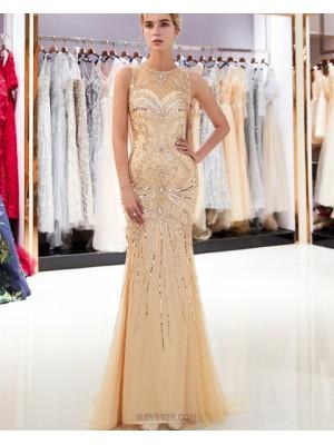 Sparkle Tulle Jewel Gold Beading Mermaid Evening Dress