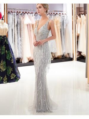 Deep V Neck Sparkle Beading Grey Mermaid Evening Dress