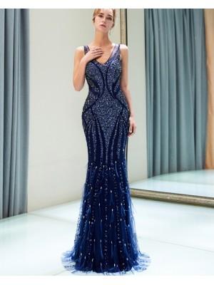 Amazing V Neck Royal Blue Sparkle Beading Mermaid Evening Dress