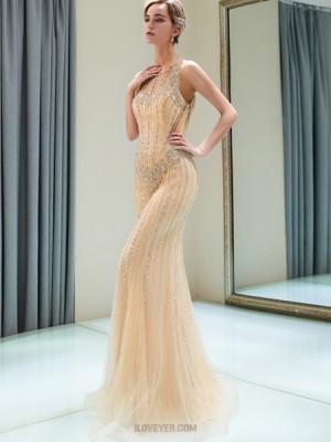 Jewel Gold Beading Tulle Mermaid Style Evening Dress