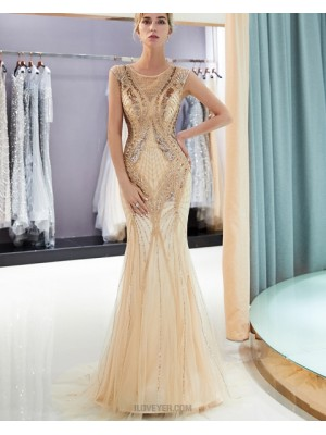 Jewel Gold Sequin And Beading Mermaid Evening Dress