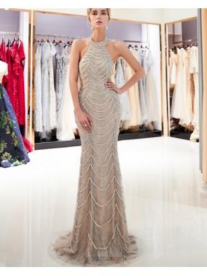 Gorgeous High Neck Beige Beading Sparkle Mermaid Evening Dress