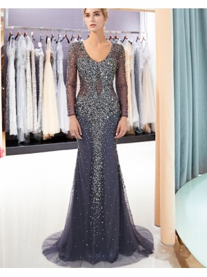 Scoop Blue Bling Beading Mermaid Evening Dress With Long Sleeves