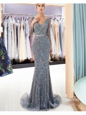 V Neck Sparkle Beading Mermaid Evening Dress With Long Sleeves
