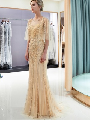 Jewel Gold Geometric Pattern Beading Evening Dress With Flowing Sleeves