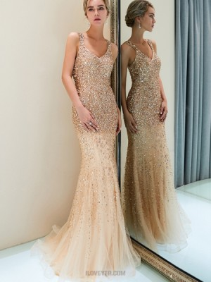 Amazing Square Sparkle Beading Mermaid Tulle Evening Dress