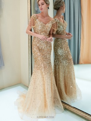 V Neck Sparkle Beading Mermaid Gold Evening Dress With Tassels Sleeves