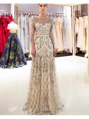 Jewel Neck Champagne Floral Beading Evening Dress With 3 4 Length Sleeves