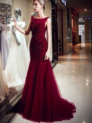 Amazing Bateau Burgundy Beading Mermaid Pleated Evening Dress