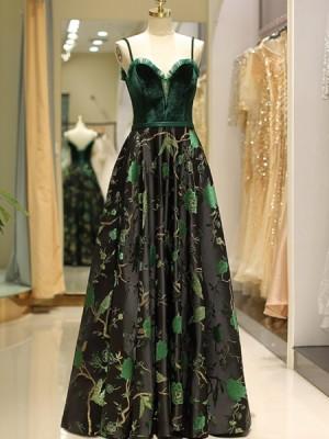 Spaghetti Straps Green Velvet Bodice Embroidery Evening Dress