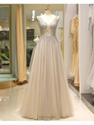 V Neck Beading Bodice Champagne Tulle Pleated Evening Dress
