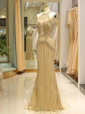 High Neck Gold Beading Mermaid Tulle Evening Dress