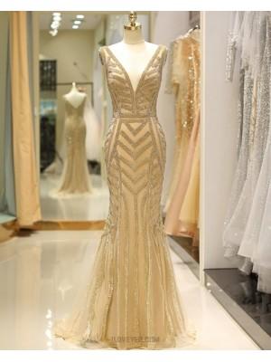 Deep V Neck Beading Gold Mermaid Tulle Evening Dress
