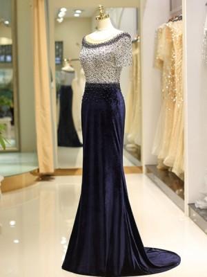 Jewel Beading Lace Navy Blue Mermaid Satin Evening Dress With Short Sleeves