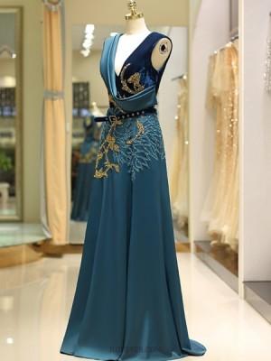 V Neck Gold And Green Beading Satin Evening Dress