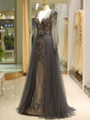 V Neck Long Sleeve Beading Evening Dress With Tulle Skirt