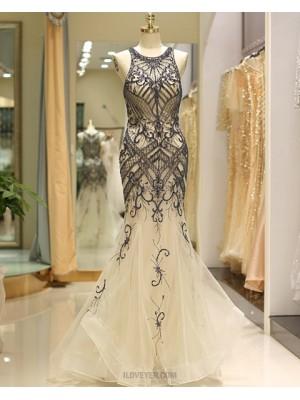 Gorgeous Beading Jewel Gold Tulle Mermaid Evening Dress