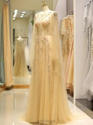 Long Sleeve Beading Jewel Pleated Tulle Evening Dress