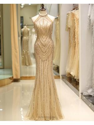 Gorgeous High Neck Gold Beading Mermaid Style Evening Dress