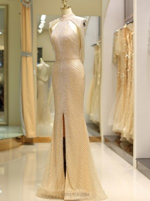 Gorgeous Gold High Neck Beading Tulle Evening Dress With Front Slit