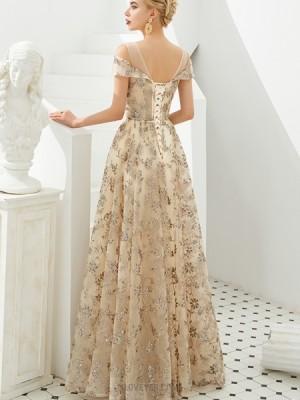 Elegant Light Gold Cold Shoulder Beading Evening Dress