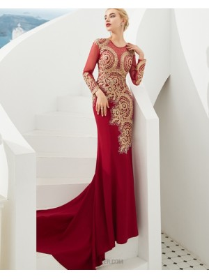 Jewel Beading Satin Mermaid Red Evening Dress With Long Sleeves