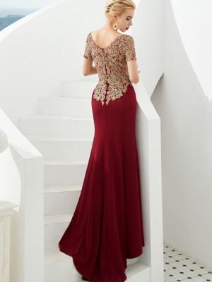 Bateau Burgundy Beading Applique Mermaid Evening Dress With Short Sleeves