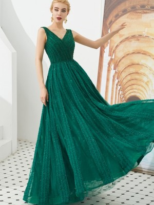 Elegant V Neck Green Beading A Line Evening Dress