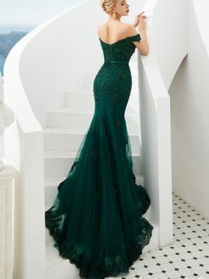Off The Shoulder Green Beading Applique Mermaid Evening Dress