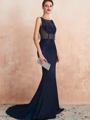 Jewel Neck Navy Blue Beading Mermaid Evening Dress