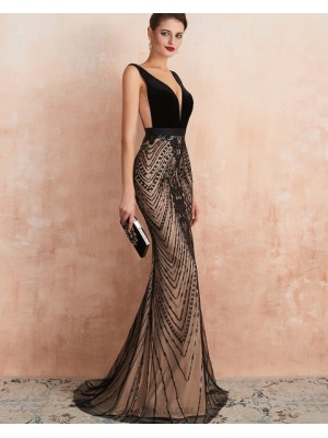 Gorgeous V Neck Black Sequin Lace Mermaid Evening Dress