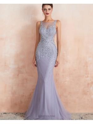 Elegant Jewel Neck Beading Mermaid Tulle Light Purple Evening Dress
