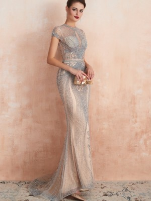 Gorgeous High Neck Beading Champagne Mermaid Evening Dress With Short Sleeves