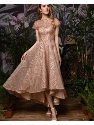 High Neck Sparkle Rose Gold High Low Evening Dress With Short Sleeves