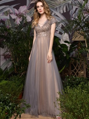 V Neck Beading Bodice Champagne Tulle Evening Dress With Short Sleeves