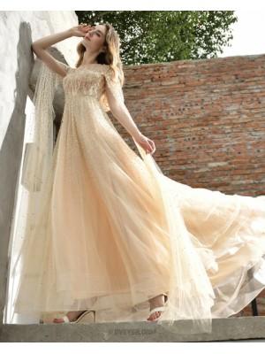 Jewel Elegant Champagne Beading A Line Evening Dress