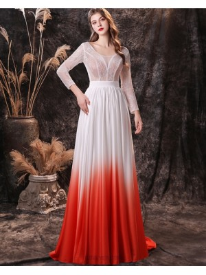 Scoop Lace Bodice Ombre Evening Dress With Long Sleeves