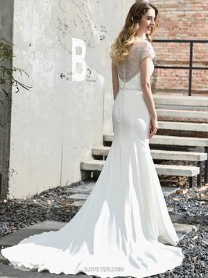 Bateau White Beading Satin Mermaid Wedding Dress With Short Sleeves