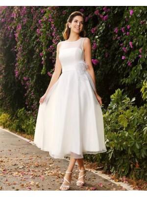 Jewel Ivory Tulle Tea Length Simple Wedding Dress With Sash