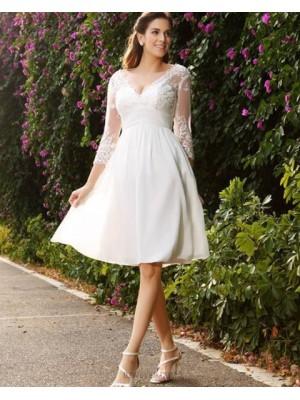 V Neck Knee Length Empire Appliqued Chiffon Short Wedding Dress With 3 4 Length Sleeves