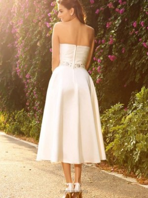 Strapless Ivory Ruched Tea Length Simple Short Wedding Dress With Beading Sash