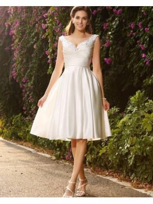 V Neck Beading Ruched Satin Ivory Knee Length Short Wedding Dress