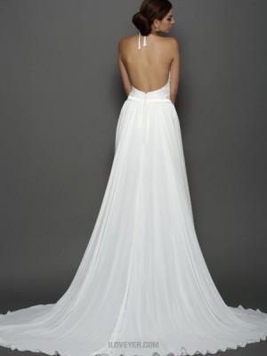 High Neck Ivory Lace Sheath Short Wedding Dress With Detachable Skirt