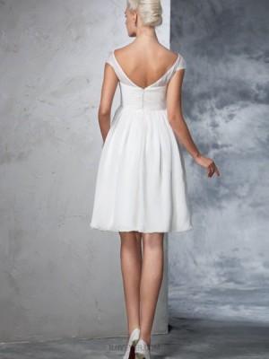 Bateau Lace Applique Ruched White Tulle Short Wedding Dress