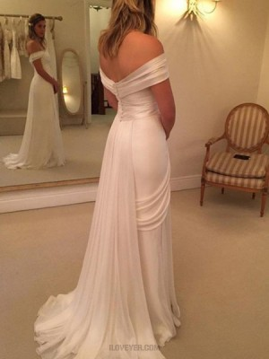 Simple Off The Shoulder White Ruched Wedding Dress With Side Slit