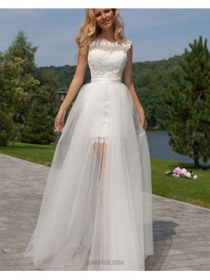 Jewel Lace Short White Wedding Dress With Detachable Skirt
