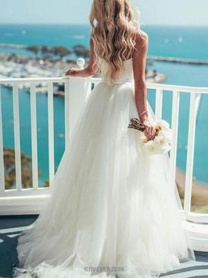 Simple Spaghetti Straps White Tulle Princess Wedding Dress