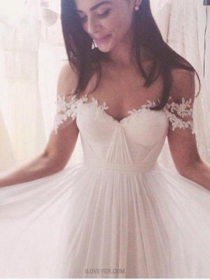 Simple Off The Shoulder Ruched Applique Chiffon Wedding Dress