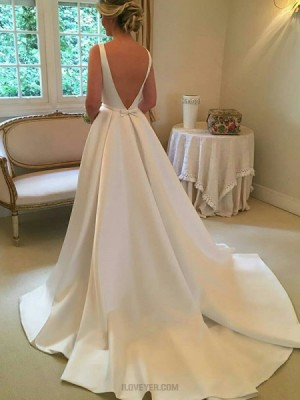 Simple Satin Jewel White Pleated Fall Wedding Dress With Cute Bowknot