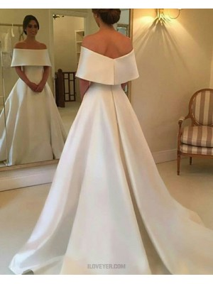 Simple Off The Shoulder Layered Neck A Line Satin Fall Wedding Dress